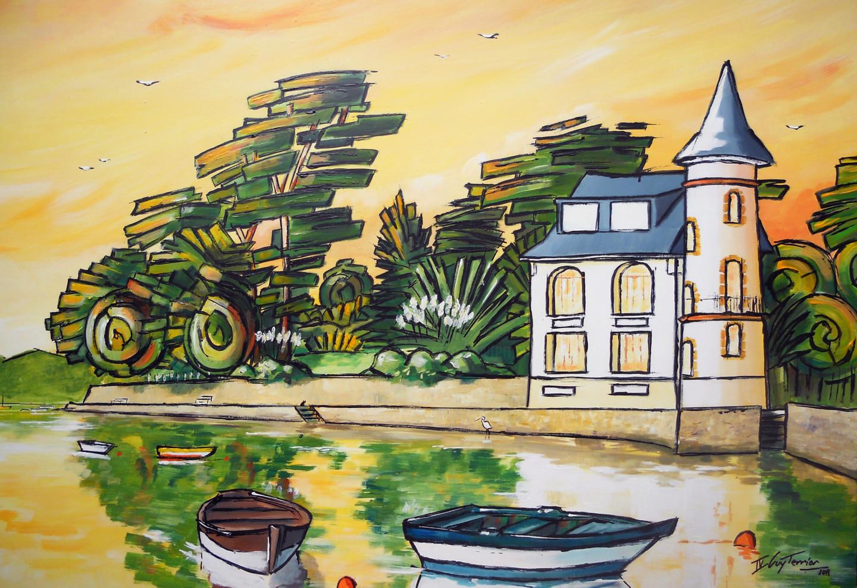 Guy Terrier - Arradon, La Tour Vincent au couchant