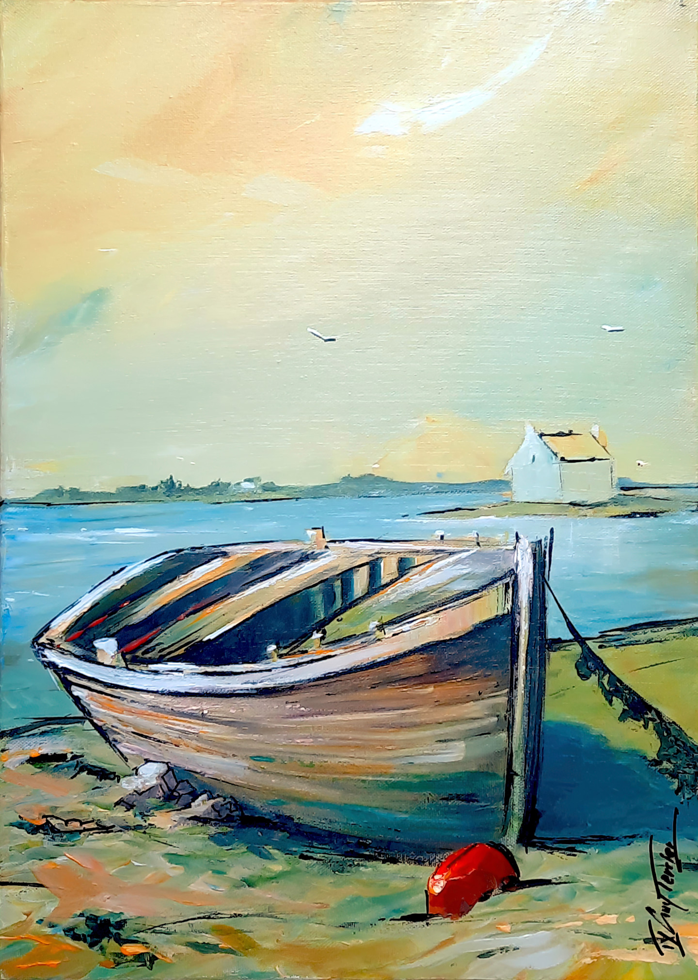 Guy Terrier - Une barque à Saint Cado