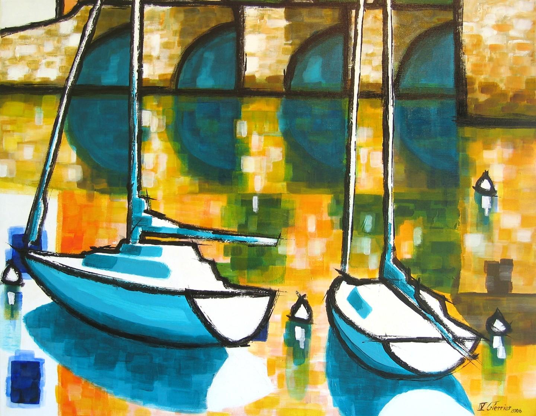Guy Terrier - Deux bateaux au port