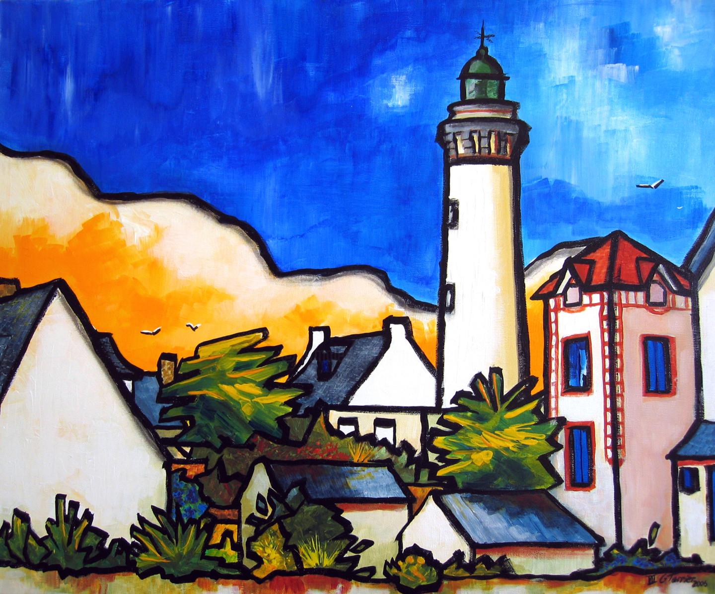 Guy Terrier - Quiberon, le phare depuis Port-Maria