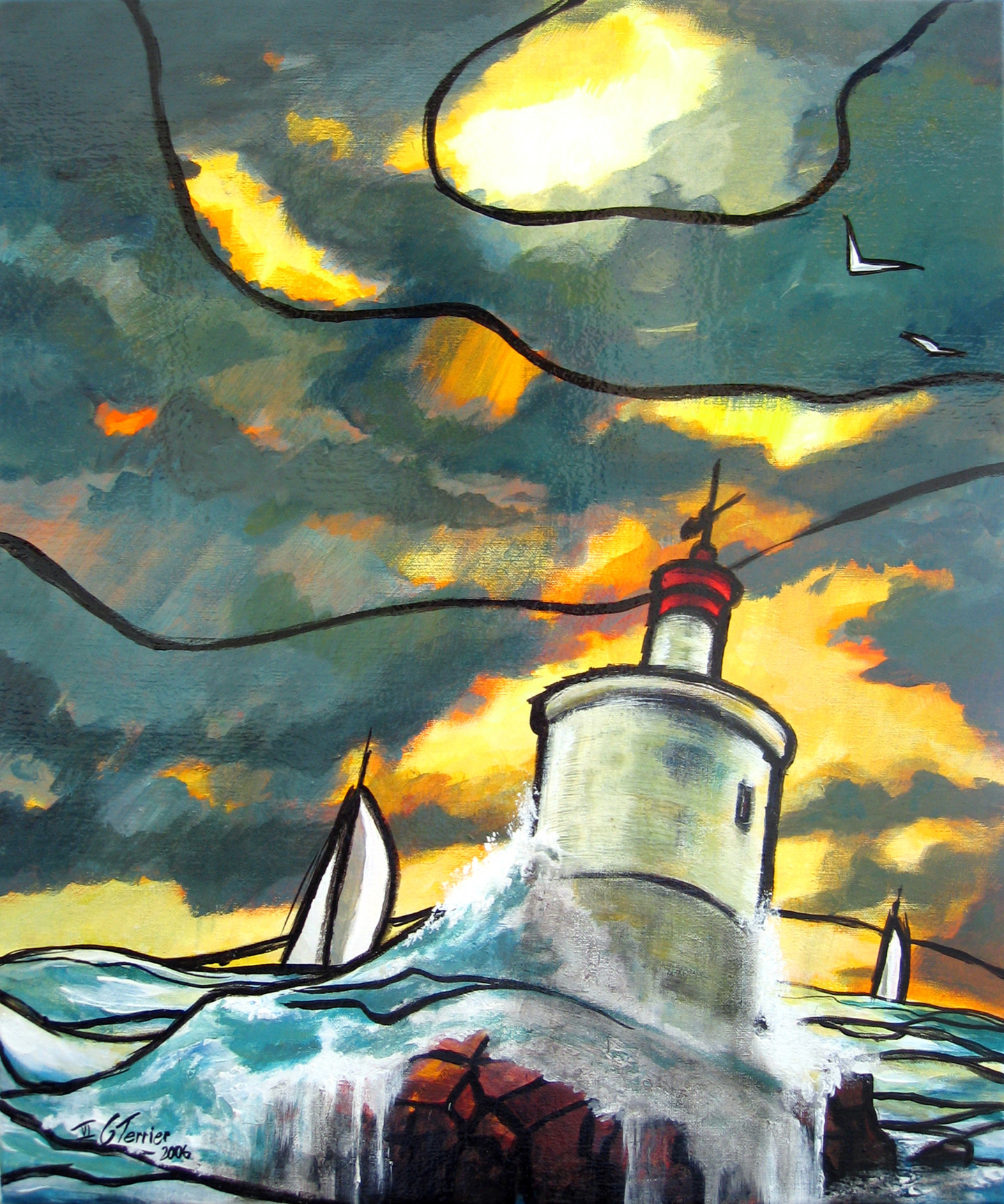 Guy Terrier - Voiles passant la Teignouse
