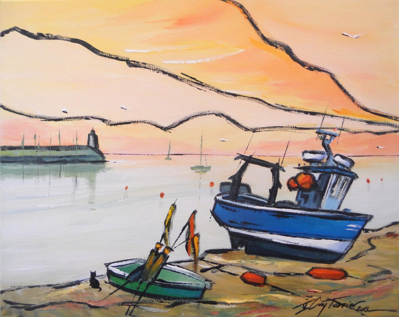 Guy Terrier - A l'aube au port de Houat